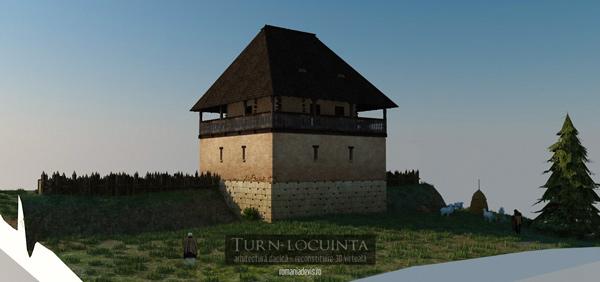 Turn-locuinta, reconstituire 3D virtuala (ipotetica) v1