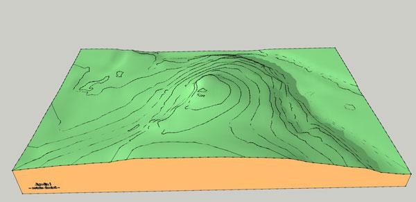 Cetatea dacica Jigodin I - plan teren 3D