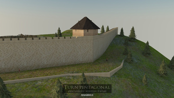 Turnul pentagonal de la Sarmizegetusa Regia, reconstituire 3D virtuala v.1