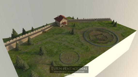Turnul pentagonal de la Sarmizegetusa Regia, reconstituire 3D virtuala v.2