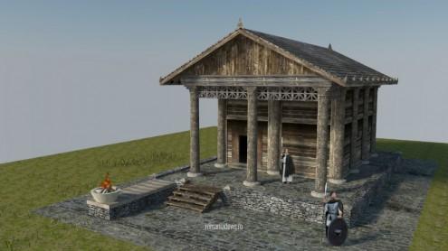 Templu dacic, v.1, reconstituire virtuala 3D (ipotetica)