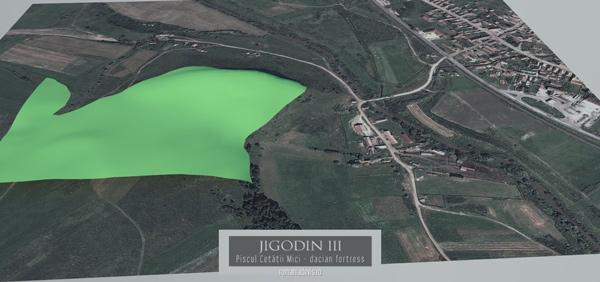 Cetatea dacica Jigodin III - plan teren 3D
