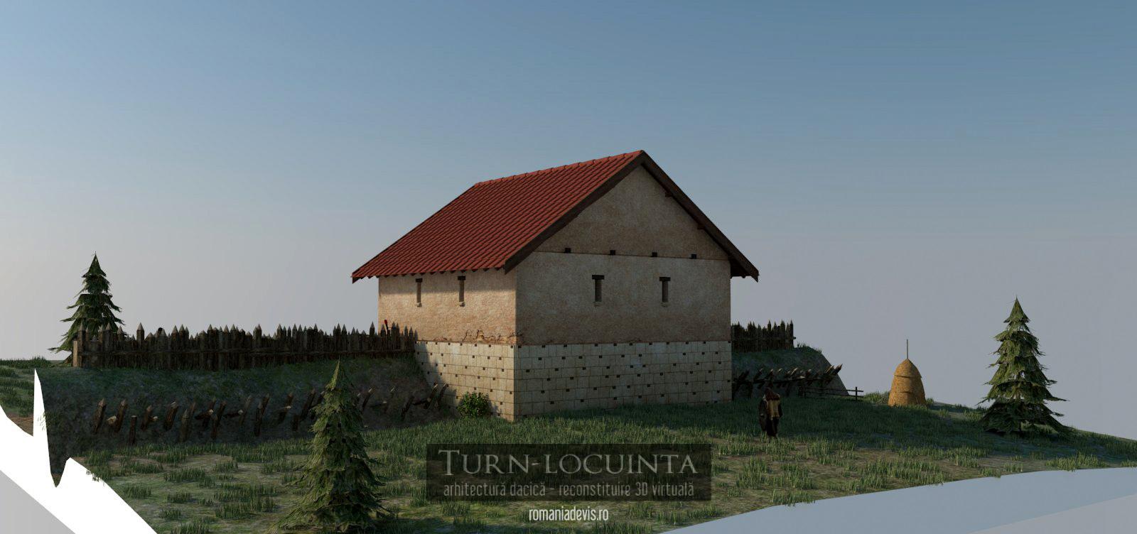 Turn-locuinta, reconstituire 3D virtuala (ipotetica) v2